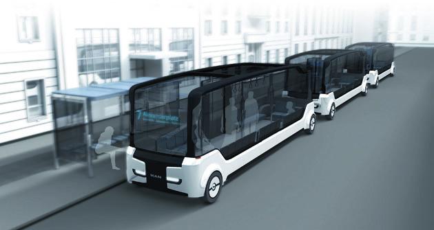 """Součástí studie  """"Future of the Omnibus"""" je také řešení tzv. konvoje městských hromadných autobusů."""