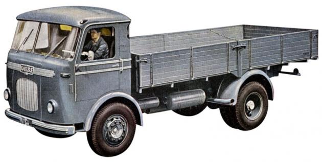 Valník Kaelble řady K650 LF se vznětovým šestiválcem Kaelble 8,1l/110kW (150k) aužitečnou hmotností 6,5 tuny (1957 – 1960)