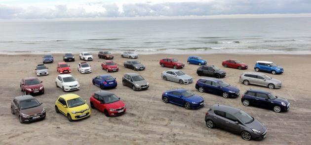Zúčastněné typy automobilů napláži vTannisby