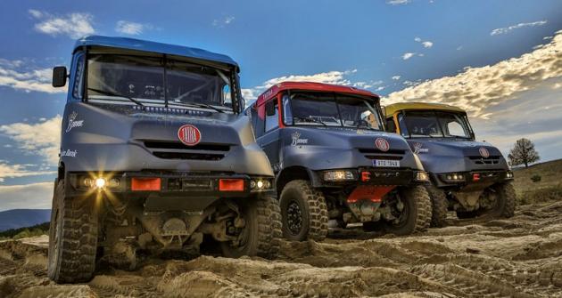 Trojice speciálů Tatra 163 Jamal ostravského týmu Bonver Dakar Project