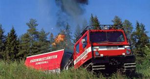 Hägglunds Bv206 jako terénní hasičské vozidlo vSundsvallu