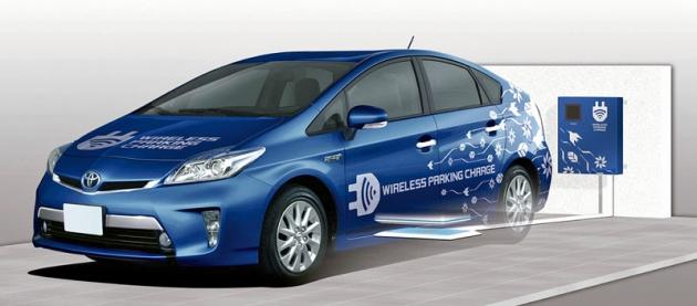 Dobíjení hybridního vozu Toyota Prius PHEV  sakumulátory vzádi