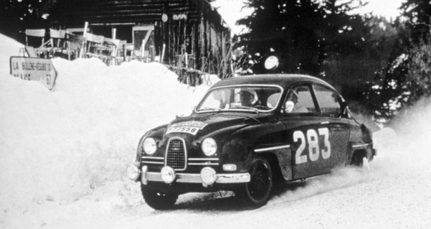 Sdvoudobým  Saabem 96  dvakrát vyhrál  Rallye Monte Carlo  (foto zročníku 1963)