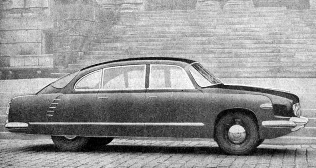 Prototyp T603  se zcela zakrytými  zadními koly (1956