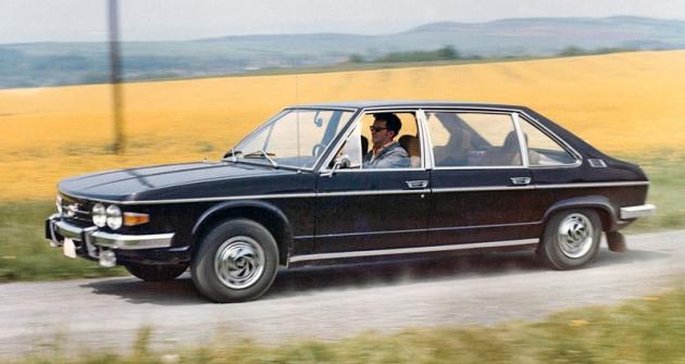 Tatra 613 Long;  zavolantem je zkušební řidič azávodník Alois Mark (1975)