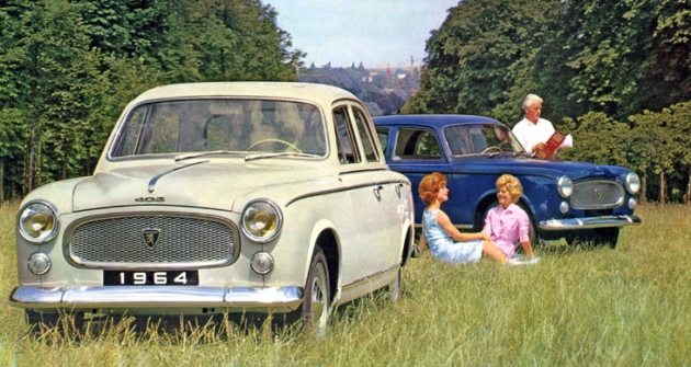 Peugeot 403 se vyráběl až do šedesátých let  (na snímku modely 1964)
