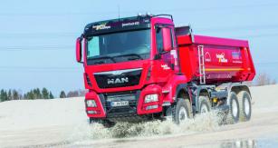 Plněpohonná varianta  stavebního vozidla MAN TGS 8x8 je vrcholem nabídky  pro stavební segment.