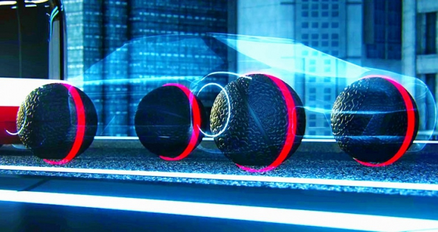 Koncept kulatých pneumatik Eagle-360 vzdálené budoucnosti spojuje kola skaroserií pomocí magnetické levitace