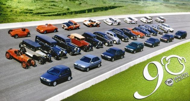 Na oslavu devadesátin se vroce 1996 sjelo jedenatřicet nejvýznamnějších typů Lancia