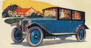 Automobil Z 18 s nástavkovou karoserií na reklamní kresbě z roku 1926