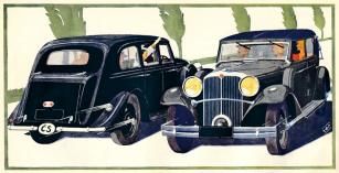 Limuzína a kabriolet Tatra 70 A na kresbě z prospektu z roku 1936
