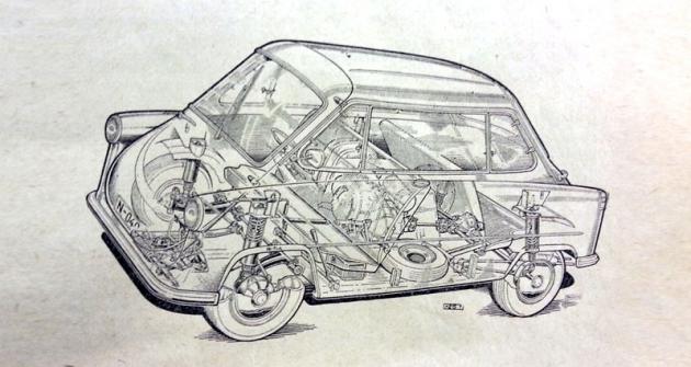 Zündapp Janus. Dvoudobý, plochý, vzduchem chlazený zážehový jednoválec; karburátor Bing nebo Solex, průměr difuzoru 26 mm, čistič vzduchu Micronic; zapalování dynamobateriové, spouštěč Bosch 12 V/100 W na klikovém hřídeli, akumulátor 24 Ah; 248cm3 (ø 67 x 70mm); 6,7:1; 10,3kW (14k)/5000min-1 a 21,1N.m/4800min-1; mazání směsí benzínu a oleje 1:25, chlazení odstředivým větrákem na klikovém hřídeli; primární řetěz v olejové lázni, spojka vícelamelová v olejové lázni, čtyřstupňová převodovka Zündapp, řazení motocyklovým automatem ruční pákou s neutrálem dostupným z jakéhokoli stupně (4,16 – 2,10 – 1,33 – 1,00 – Z 3,98), stálý převod 2,69; pohon zadních kol. Samonosná ocelová konstrukce, všechna kola nezávisle zavěšena, přední na klikových závěsech, zadní na vlečených podélných ramenech; odpružení vinutými pružinami a dvojčinnými olejovými tlumiči, vpředu příčný zkrutný stabilizátor. Řízení pastorkem a zubovou tyčí. Kola lisovaná ocelová, pneumatiky 4,40 – 12. Kapalinové bubnové brzdy ø 160 x 40 mm, celková plocha obložení 488 cm2. Rozvor náprav 1825 mm, d/š/v 2890/1410/1400 mm, rozchod kol 1150/1180 mm, světlá výška min. 135 mm; objem palivové nádrže 21 l; hmotnost pohotovostní/užitečná 425/300 kg. Nejvyšší rychlost 80 km/h; průměrná spotřeba při 40/60 km/h 4,4/5,5 l/100 km.