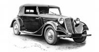 Čtyřmístný dvoudveřový kabriolet Tatra 75 vprovedení zpodzimu 1934