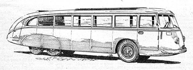 Škoda S532 z roku 1937 – prototyp proudnicového autobusu s motorem vzadu