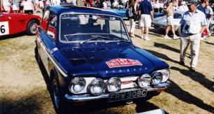 Sunbeam Imp Rally s motorem vzadu, který se roku 1968 zúčastnil Rallye Monte Carlo