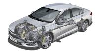 Uspořádání hnacího ústrojí Opelu Insignia s napříč uloženým motorem