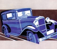 Reklamní kresba dvoudveřového uzavřeného vozu Z9 z roku 1930