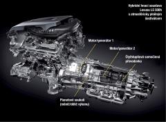Hybridní hnací soustava Lexusu LS 500h satmosféricky plněným šestiválcem