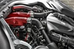 Motor umístěný za přední nápravou má základ v osmiválci typu California T, byl však důkladně přepracován. Technickou lahůdkou je jednodílný odlitek stejně dlouhých výfukových svodů a těla turbodmychadla
