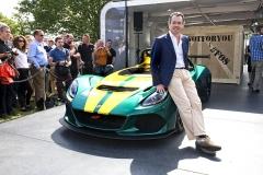 Jean-Marc Gales, nový ředitel Lotus Group od roku 2014, při uvedení nového roadsteru Lotus 3-Eleven na Festivalu rychlosti 2015 v Goodwoodu