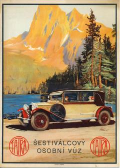 Čtyřdveřový kabriolet na titulní straně katalogu šestiválců Tatra 31 z roku 1929