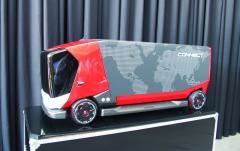 Rozvážkové vozidlo Renault Trucks blízké budoucnosti – efektivní tvar, stále standardně akceptovatelné většinovou společností.