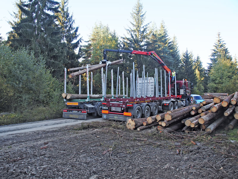 Zatímco Tatra měla hydraulický jeřáb, DAF 4x2 nikoliv a musel tedy být nejdříve naložen jeřábem zTatry