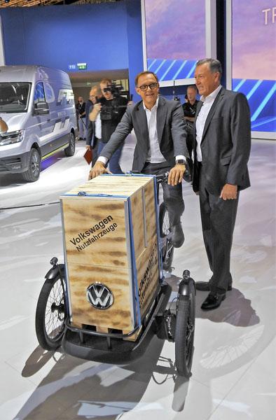 Thomas Sevran na nákladním jízdním kole