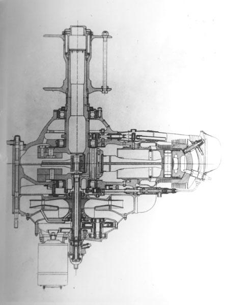 Podélný řez motorem ZOD-260.