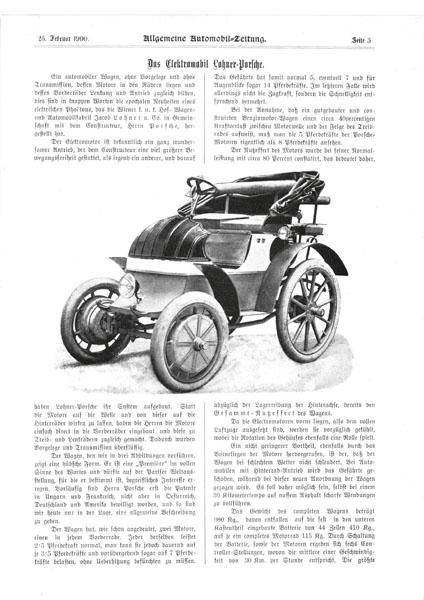 Automobil Allgemeine Zeitung zroku 1900 apopis elektromobilu Lohner spohonem systému Lohner-Porsche.