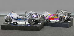 Nová platforma CMP je navržena jak pro spalovací motory (vpravo), tak pro elektrický pohon s akumulátory (vlevo)