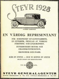 Rok 1928 byl pro automobilku Steyr-Werke zhlediska výroby aprodeje velmi úspěšný, následující rok měl být ještě lepší, jenže vjeho poslední čtvrtině přišel krach naburze vNew Yorku.