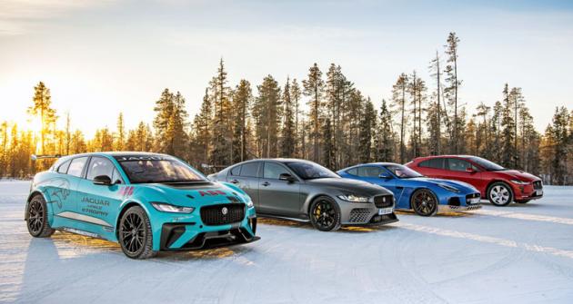 Paleta vozů Jaguar připravených pro jízdu na ledových tratích. Všechny obouvaly pneumatiky s hroty
