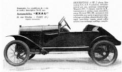 Inzerát Exau (1922). Dvoumístný typ 6HP pohání čtyřválec s třístupňovou převodovkou
