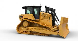 Logo v inovovaném provedení na boku dozeru Cat D6 XE