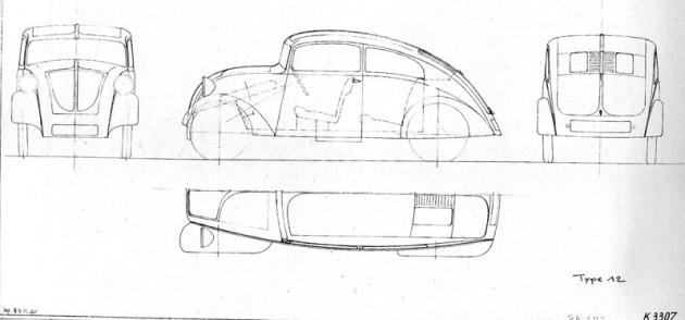 Vetvarovém řešení vozu Typ 12 zroku 1931 lze spatřit již základní linie atahy, které se staly vpodání vozu Volkswagen Brouk oněkolik desetiletí později zcela ikonickými.