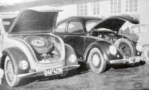 """NSU Typ 32 aprototyp Volkswagen Brouk. Více než jasně je vidět, že Brouk byl další vývojovou generací toho, co Ferdinand Porsche ajeho """"boys andgirls"""" započali vprojektu pro NSU."""