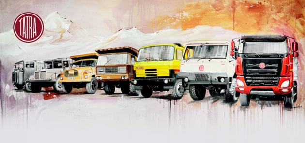 Přehlídka automobilů Tatra vhistorické posloupnosti