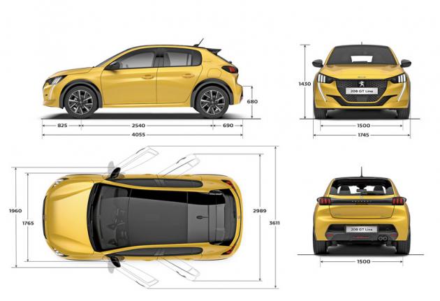 Rozměrový náčrt nového P208 naznačuje, že jde stále o vůz kompaktních rozměrů