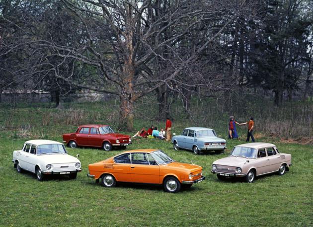 Kompletní rodinka vozů Škoda 100/110 ročníku 1972 včetně kupé Š110 R