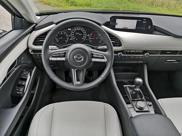 Velký volant usnadňuje výhled na rozměrný přístrojový štít. Řadicí páka je v pohodlném dosahu z volantu