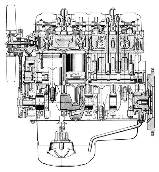 Podélný řez čtyřválcem typu XM KF6 1,8 litru se vstřikováním paliva Kugelfischer