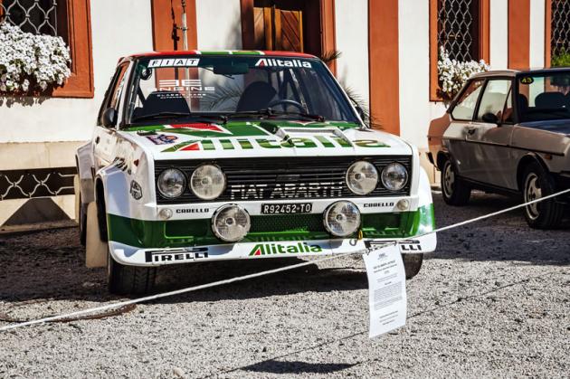 Jedním znejatraktivnějších exponátů byl nádherný tovární speciál pro rally odvozený od Fiatu 131 vikonických barvách Alitalia