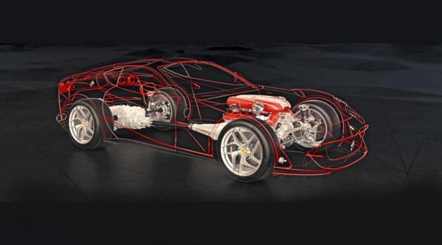 Koncepce transaxle s motorem apřevodokou umístěnými za nápravami. Na zadní osu připadá 53 % hmotnosti