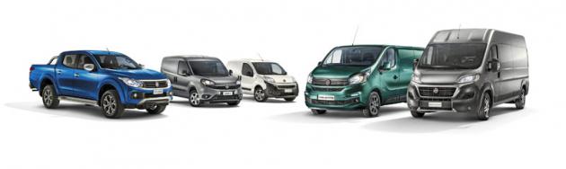 Paleta typových řad Fiat Professional pokrývá potřeby širokého spektra zákazníků. Zleva odolný pick-up Fullback, oblíbené Doblo, kompaktní Fiorino, variabilní Talento a velké Ducato