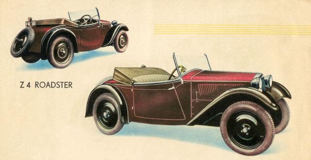 Dvoumístný roadster Z 4 první série na obrázcích z katalogu (1933)