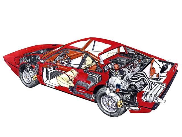 Průhledová kresba Ferrari 308 GTB zfiremního prospektu