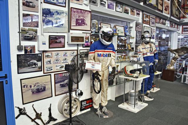 Malý výsek stěny zaměřené na Dimisovu závodnickou kariérou