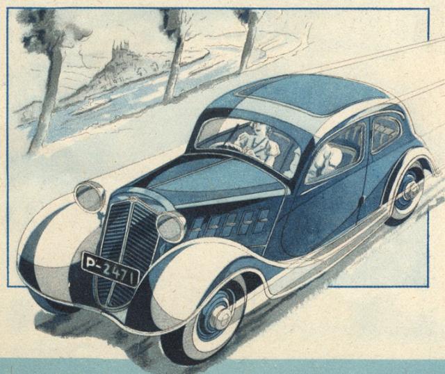 Limuzínka Z 4 čtvrté série ročníku 1935 na dynamické kresbě zprospektu