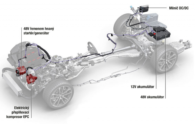 Schéma rozmístění prvků 48V mild hybridní poháněcí soustavy